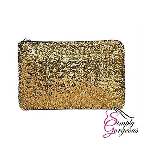 Monedero de señoras para mujer del brillo chispeante de las lentejuelas del partido de tarde del embrague del bolso del bolso dorado
