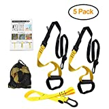 PetSply Upgraded Fitness Resistance Basic Trainer Kit, Full Bodyweight Training System Multiple Anchoring with Two Extension Straps for Home Gym Travel Exercise & Indoor Outdoor Workouts