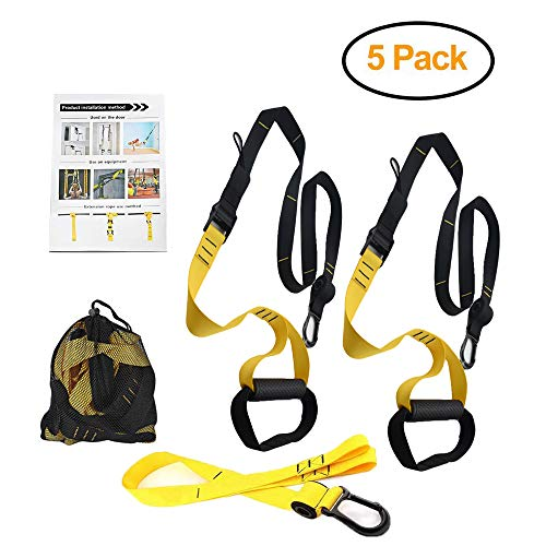 - PetSply Bodyweight Fitness Basic Suspension Trainer Kit, Resistance Training Straps with Super Strong Nylon Webbing + Plastic Handle for Travel Home Gym Indoor Outdoor Workouts