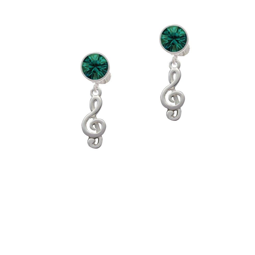 Silvertone Clef - Green Crystal Clip on Earrings
