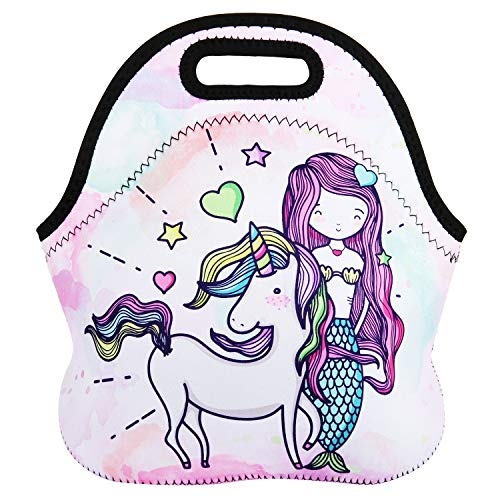 Lunch Bag Tote Reusable Insulated Waterproof School Picnic Carrying Lunchbox Container Organizer For Men, Women, Adults, Kids, Girls, Boys (Unicorn Mermaid) ()
