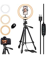 Eocean 10.2 pulgadas Selfie Anillo de Luz con Actualizado extensible Trípode de 54 pulgadas y flexible Soporte para Teléfono para YouTube /Tik Tok/ Live Stream / Makeup, Mini cámara LED con luz de anillo para Vlog / Video / Fotografía, Compatible con iPhone 12 11 Pro Max Xs Max XR X 8 7 6 Plus y Android