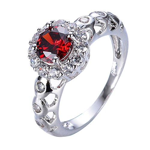 Cut Above Costumes Round Rock (F&F Ring Exquisite Round Cut Ruby Rings Wedding Party Rings For Women Engagement Bridal Rings (7))