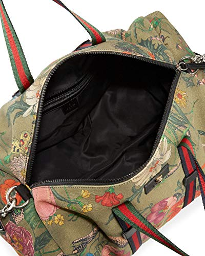 4787d4303 Gucci Authentic Handbag Duffle Bag Military Green Flora Snake Print Canvas  Leather Strap Fabric Weekender Travel