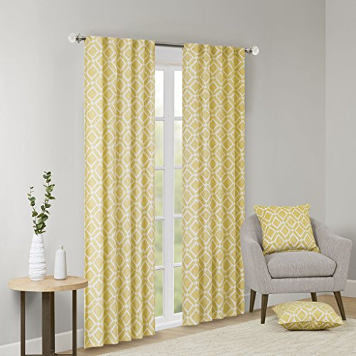 (Madison Park Delray Diamond Blackout Window Curtain 1 Panel for Bedroom and Dorm, 42x63, Yellow)
