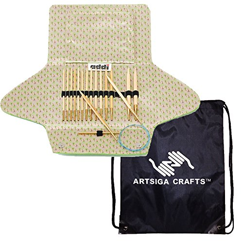 - addi Knitting Needle Click Natura Bamboo Interchangeable System with Skacel Exclusive Blue Cords Bundle with 1 Artsiga Crafts Project Bag