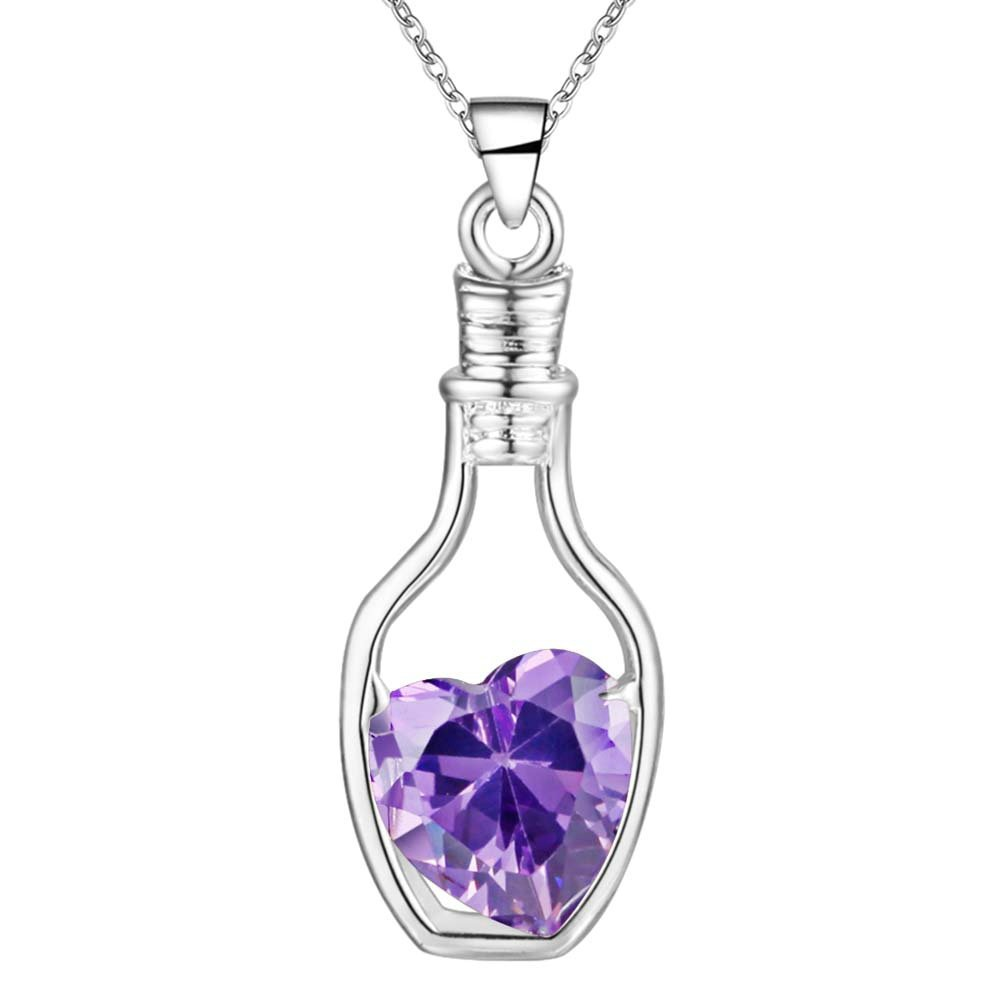 Onefeart Sterling Silver Pendant Necklace for Women Girls Red Crystal Crystal Bottle Pendant 45CMx24X10MM