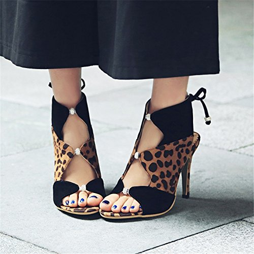 Suede 10 Open Dress Stiletto High Shoes Sandals Women Ladies Summer Brown Party Strappy ZPL Heels 3 Toe Leopard Size xwTIPfO
