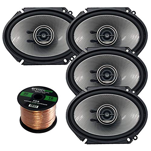 Kenwood KFC-D681C Car Speaker Package of 4 (2 Pairs) 720-Watt 6x8 Inch 3-Way Performance Series Coaxial Speakers Bundle Combo with Enrock 16-Gauge 50 Feet Speaker Wire