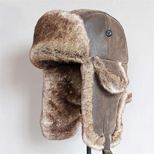 LKIUYN Bomber Hats Winter Men Warm Russian Hat with Ear Flap Pu Leather Fur Trapper Cap Brown 56-58cm