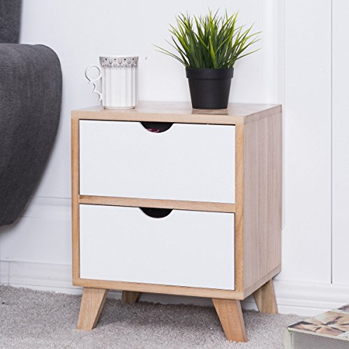 Giantex Nightstand with 2 Drawers Storage Wood Cabinet Light Walnut/White
