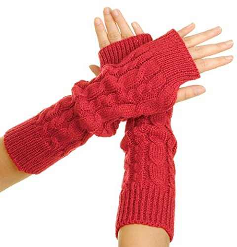 Flammi Women's Cable Knit Arm Warmers Fingerless Gloves Thumb Hole Gloves Mittens (Red)
