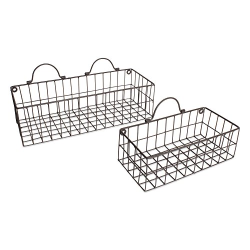 Home Traditions Vintage Hanging Wall Mounted Wire Metal Basket Set of 2 for Kitchen, Office, Bathroom, Mudroom, Entryway, Laundry Room - Gray