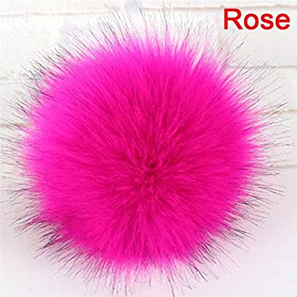 3598ff074b9 1x Faux Fox Fur PomPom with Press Fake Fur Hat Bubble Removable Button GY  Women s Accessories