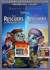To commemorate the 35th anniversary of an original classic, Disney proudly presents a special 2-movie collection featuring all-time family favorites, THE RESCUERS and THE RESCUERS DOWN UNDER. Join two of the world's bravest mice -- Bernard an...