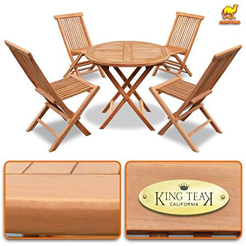 Teak Table One Round (King Teak 4 Piece Golden Teak Wood Folding Chair & 1 Piece Round Table Outdoor Furniture Set Garden Yard Seat Chair Dining Set)