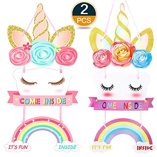 (Lingpeng 2Pack Unicorn Birthday Party Supplies- Happy Birthday Door Sign Magical Rainbow Girl Birthday Party Decoration)