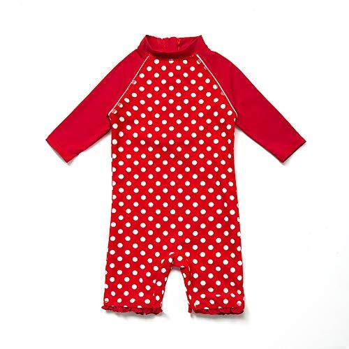 Bonverano(TM Kids UPF 50+ Sun Protection S/S One Piece Zip Sun Suit (9-12 Months, Red)