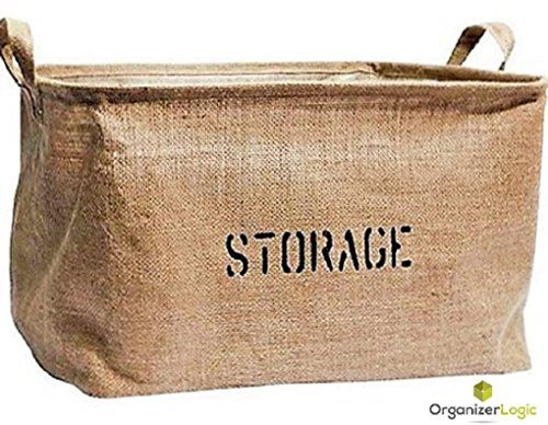 Jute Storage Bin, Eco-Friendly for Toy Storage - Storage Basket for organizing Baby Toys, Kids Toys, Baby Clothing, Children Books, Gift Baskets.