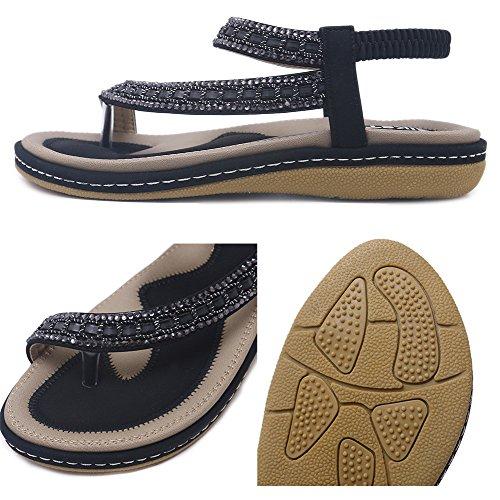 Sandalias Playa Zapatos Negro b Elegante Planas de para Bohemia Sandalias Yooeen Cómodo T Elástico Correas Chanclas Caminar Vestir Verano Rhinestone de 2018 Sandalias Mujer ggHBpq71