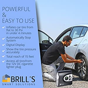 BRILL'S 12V DC Portable Tire Inflator Pump, 150 Psi Electric Air Compressor for Cars, Bikes, Motorcycles and Balls. Carry Case and USB Car Charger Included