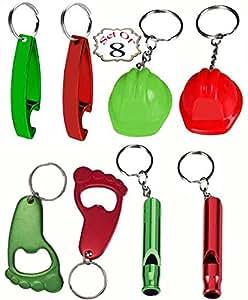 Amazon.com: Key-chain Key Ring Pack of 8 (Whistle, Bottle