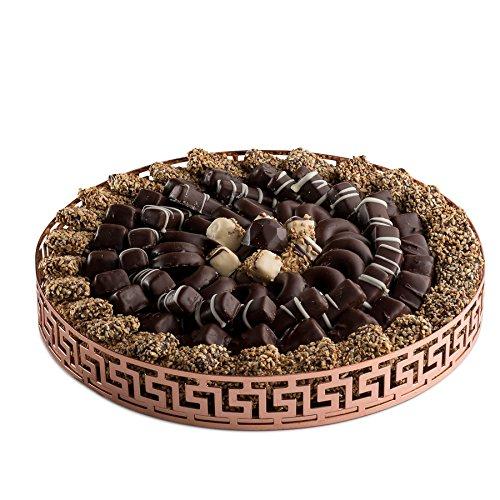 Price comparison product image The Chocolate Bar - Beautiful Rose Gold Greek Key Styled Mirror Tray Chocolate Truffle Gift Platter (Medium)
