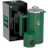 Large French Press Coffee Maker – Vacuum Insulated Stainless Steel – Green, 34 ounce