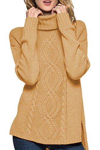 Sovoyontee Women Turtleneck Knit Sweaters Camel Small 4 ()