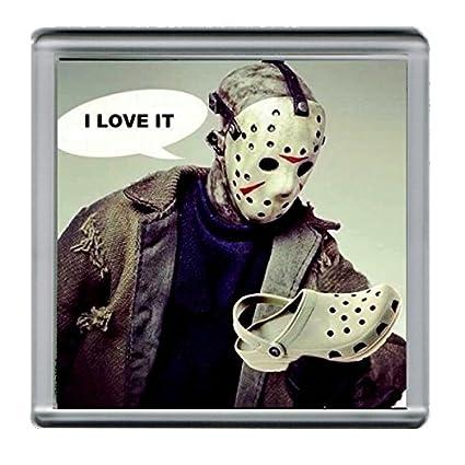 219d4d9da36ab7 Amazon.com   Friday the 13th Jason Voorhees Crocs Parody Coffee Mug Coaster  4 X 4 Inches   Everything Else