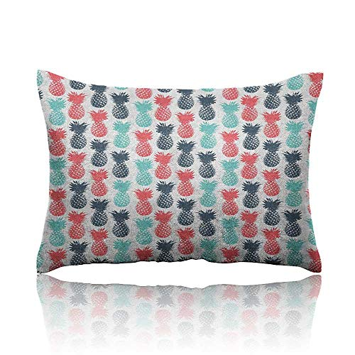 "Anyangeight Pineapple Cars Pillowcase Island Pineapple Tropic Fruit Pattern Stamped Minimal Backdrop Pop Art Youth Pillowcase 20""x26"" Turquoise Coral White"
