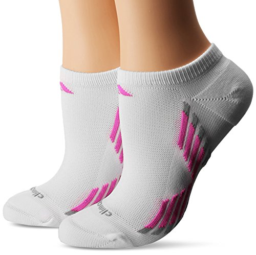 Adidas Women's Climacool X III No Show Socks (2 Pack), White/Mono Pink/Light Onyx, One Size