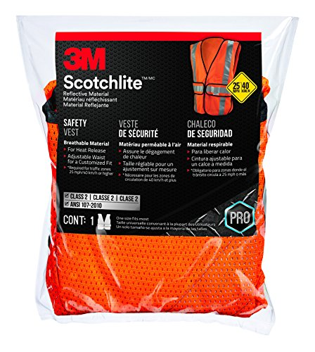 3M 94625-80030-PS Class 2 Construction Hi-Viz Safety Vest, (Hi Viz Orange Safety Vest)