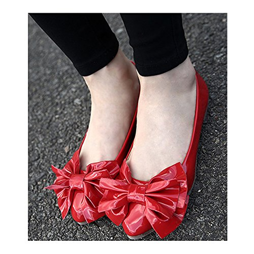OCHENTA Mujer Boda Zapatos Puntiagudo Moda Mariposa Casual #888-13Rojo