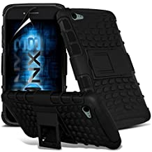 ONX3® ( Black ) Samsung Galaxy A5 2016 Case Custom Made Tough Survivor Hard Rugged Shock Proof Heavy Duty Case W/ Back Stand, LCD Screen Protector Guard, Polishing Cloth & Mini Retractable Stylus Pen