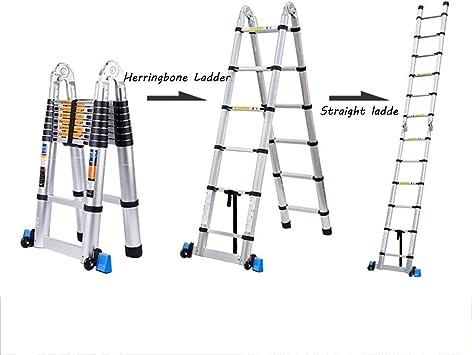 DD Escalera Telescópica, Escalera Plegable Multifunción, Escalera Espiga Interior, Escalera Recta Ingeniería Engrosamiento Aleación Aluminio, Escaleras Elevables (Tamaño : 1.9+1.9=3.8m(12.47 ft)): Amazon.es: Bricolaje y herramientas