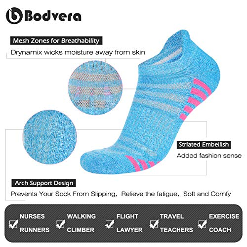 Bodvera Womens 6 Pack Performance Ankle Athletic Running Socks Cushioned Breathable Low Cut Sports Tab Socks