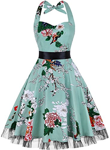OTEN Womens Vintage Polka Dot Halter Dress 1950s Floral Sping Retro Rockabilly Cocktail Swing Tea Dresses, XX-Large, Light -