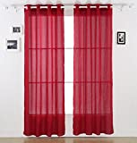 Cheap Deconovo Fashion Colored Faux Voile Grommets Window Sheer Curtains for Kitchen 52″W x 63″L, Red, 1 Pair