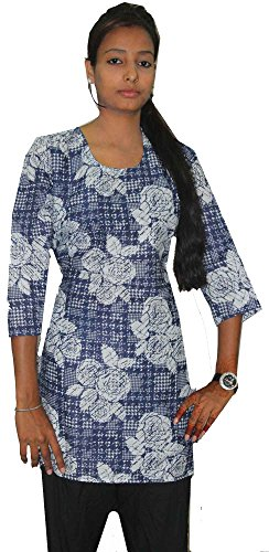 Indian-White-Blue-Color-Top-Kurta-Women-Ethnic-Tunic-Kurti-plus-size-Floral-Print-100-Cotton