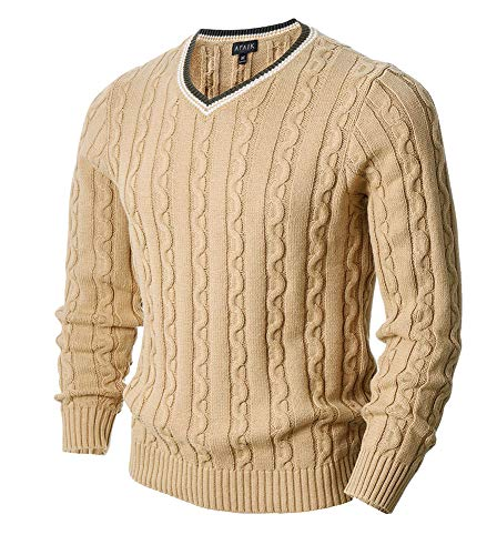 AFAIK Men's Long Sleeve Pullover V-Neck Cotton Knitted Casual Sweater (Medium, 1022-Beige) (Cable Long Sleeve V-neck Sweater)