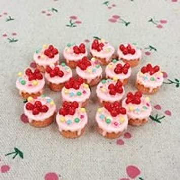 10 piezas de resina plana de cabujón Kawaii de resina para decoración de tarta de fresa falsa, 12 x 15 mm: Amazon.es: Hogar