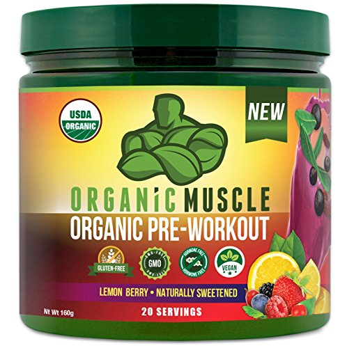 USDA Certified Organic Pre Workout Powder - Natural Pre Workout and Organic Energy Supplement - Non-GMO, Paleo, Gluten Free, Plant Based, Vegan Pre Workout for men and women -Lemon Berry flavor- 160g
