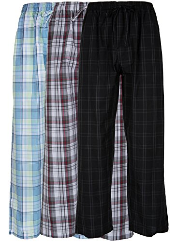 - Andrew Scott Men's 3 Pack Super Soft Woven Pajama & Sleep Long Lounge Pants (Large, 3 Pack - Assorted Brilliant Plaids)
