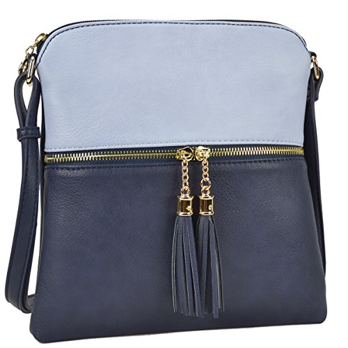 Dasein Lightweight Medium Crossbody Bag Vegan Leather Shoulder Bag Small Travel Purse with - Blue Leather Bag