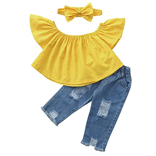 Littleice Toddler Kids Baby Girls Off Shoulder Crop Tops + Hole Denim Pant Jean Headband Outfits Clothes Set (Yellow, (Plaid Crop Jacket)