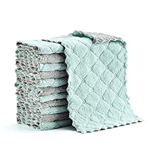 """Microfiber Cleaning Cloth, Kitchen Towels, Double-Sided Microfiber Towel Lint Free Highly Absorbent Multi-Purpose Dust and Dirty Cleaning Supplies for Kitchen Car Cleaning. Size:6.1""""x10.4"""", Pack of 12"""