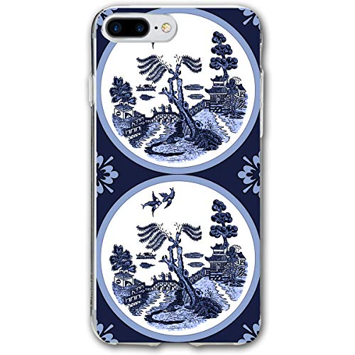 Blue Willow Round Tile Painting iPhone 7plus 8plus 7/8 Plus Phone Case Cover Theme Decorative Mobile Accessories Ultra Thin Lightweight Shell Pattern Printed