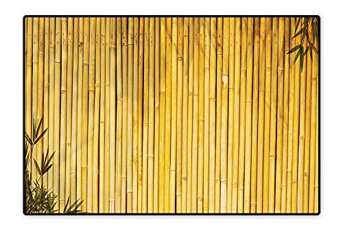 (Home Décor Rug Tall Bamboo Stems and Leaves Oriental Nature Wood Image Natural Zen Asian Wildlife Home Yellow Non-Toxic Waterproof 4'7