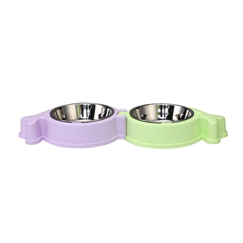 B Pet Bowl Pet Bowl Cat Dog Food Bowl Water Bowl Dish Rack Stainless Steel Dog Bowl Double Bowl Cartoon Pet Supplies (color   B)